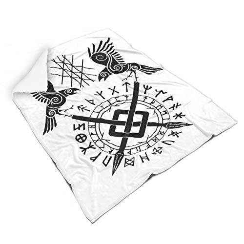 Keltisch Odins Rabe Huginn und Muninn Speere Skandinavisch Runen Tätowierung Druck Quadratisch Flauschig Decke Werfen Neuheit Outdoor Indoor Werfen fürs Auto Erwachsene&Kleinkind white 130x150cm