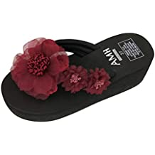 Mujer Damas Moda Verano Flores Zapatillas de Estilo Bohemio Sandalias de Playa Zapatos