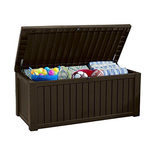 Koll Living Auflagenbox/Kissenbox 570 Liter l 100{9c431ac44ad1f155c568d51742b639d2c9f0bd37dc84eb14e802ae134158bf61} Wasserdicht l mit Belüftung dadurch kein übler Geruch/Schimmel l Moderne Holzoptik l Deckel belastbar bis 250 KG (2 Personen) (Braun)