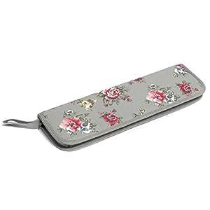 Valeur aiguille à tricoter Étui–Gris motif floral
