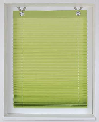Estor plisado Olbia vert ojales montaje sencillo sin taladrar ca. 40/125 cm