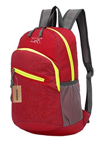 lethigho verstaubarer Rucksack Leicht Handlich Outdoor Tasche Nylon Wasserdicht Reise Packsack Wandern Klettern Sports Casual Rucksack Tagesrucksack rot - rot