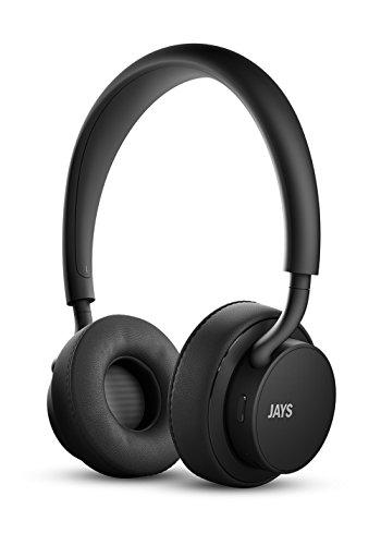 Jays u-JAYS Bluetooth-Kopfhörer, drahtlose Kopfhörer mit enormen 25 Stunden Spieldauer, integrierter Touchbedienung und starkem Bass, Geräuschisolierung und Mikrofon - schwarz