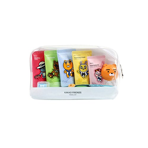 Kakao Friends Confort kit de voyage 7 pièces Shampoing, après-shampoing, gel douche, mousse nettoyante, pâte de dent, brosse à dents, brosse à dents capuchon Tube type