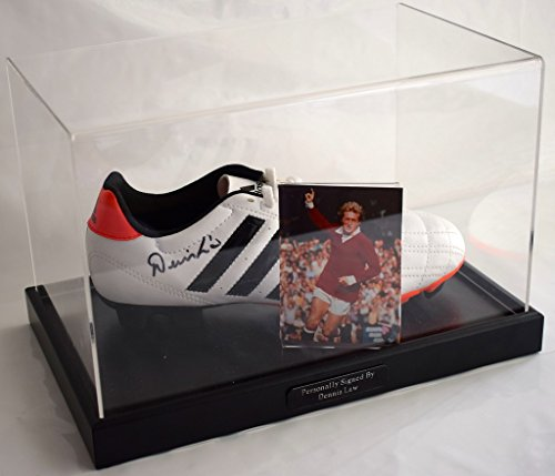 Sportagraphs Dennis Law Signed Autograph Football Boot Display Case Manchester United AFTAL PERFECT GIFT