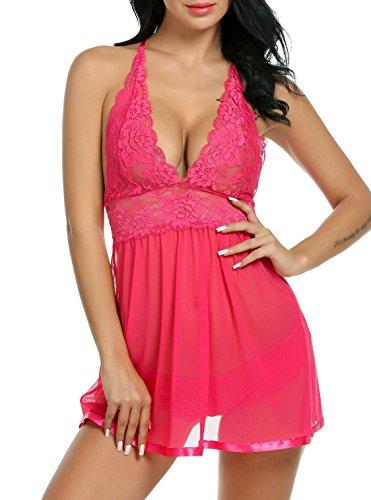 ADOME Spitze Negligee V-Ausschnitt Babydoll Lingerie Öffnen Zurück Nachtwäsche Kleid Dessous Unterwäsche für Damen mit Panties , farbe - Rosen rot , Gr. EU XXL (Panty Zurück)