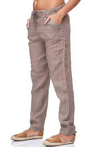 JillyMode hochwertige Damen Leinenhose aus bequemem Leinen in viele Farben Gr. 36- Gr.46(H137-Schlamm-M) (Leinen Weiß Elfenbein)