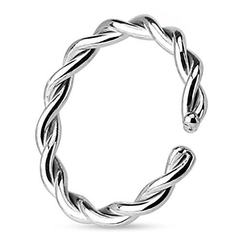 Kultpiercing - Helix Cartilage Tragus Piercing/Fake Piercing Ring/Nasenpiercing / Ohrpiercing Clip-On Kordel Silber 1,2 x 10 mm