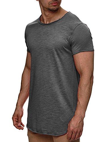 S!RPREME Herren T-Shirt Kurzarm Basic Longshirt Oversize Slim Fit Iron M