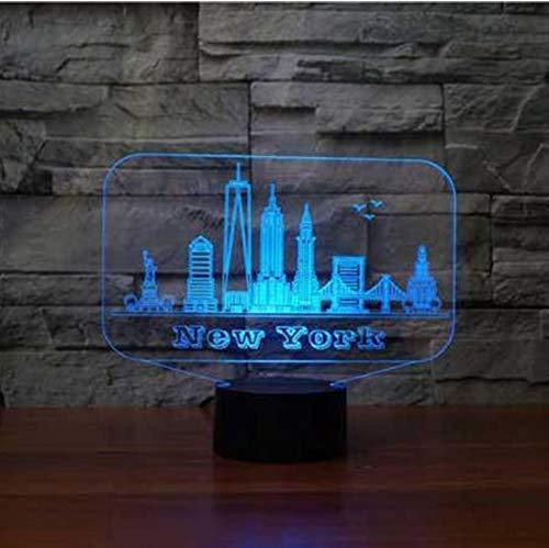 JINSH Acrílico Night Light Nueva York, EE. UU. Edificio 3D Night Light 7 Color cambiante Dormitorio de los niños 3D Lámpara de Mesa de Escritorio para la lámpara de Ambiente de hogar