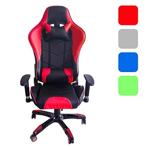 Froadp PU Kunstleder Racing Gaming Stuhl Höhenverstellbar Ergonomisch Schreibtischstuhl Sportsitz Drehstuhl mit Armlehnen(Rot) -