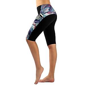 Munvot Damen Printed Sport Leggings – TUMMY CONTROL – Sporthosen Mit Handytasche Super für Fitness, Laufen, Yoga, Workout etc.