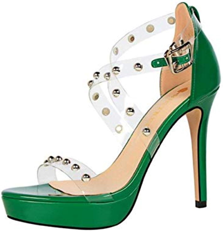 s À Talons Hauts Heel 2.5CM Plate-Forme Rivet Métal Rouge Vert Noir Stiletto Heel Hauts PU Chaussures De Court Pompes...B07JW5LCWTParent f88563