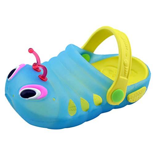 TUDUZ Kinder Sandalen und Hausschuhe Strand Schuhe Raupe rutschfeste Hausschuhe Babyschuhe Zurück mit Sandalen Outdoor Niedlichen Sommer Schuhe Mode 2019(20 EU,B-Blau)
