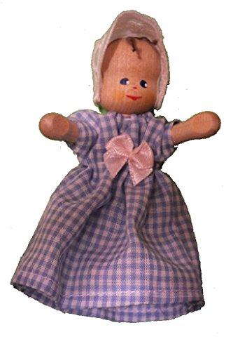 anne krebs Holzgelenkpuppe , Baby mit Mütze, Kleid blau-weiß kariert, Anne-kleid