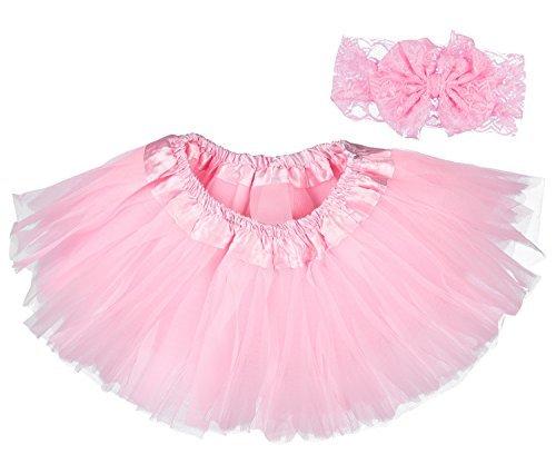 (Dancina Baby Tüllrock Tutu Classic Set m. passendem Haarband Rosa Classic 6-23 Monate)