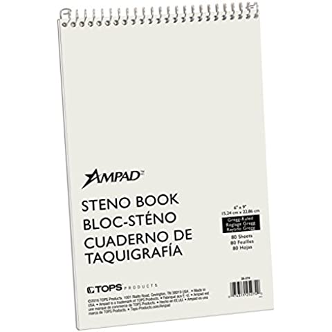 """Steno Book, 15 lb., Gregg Ruled, 80 Sheets, 6""""x9"""", GN Tint, Sold as 1 Each"""
