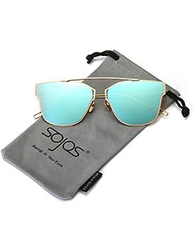 SojoS Modern Damen Herren Ultra Leicht Metall Rahmen Flach Linse Sonnenbrille Flat Lens Sunglasses SJ1028