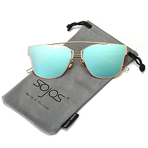 SojoS Modern Women's Men's Ultra Light Metal Frame Mirror Flat Lens Sunglasses SJ1028 With Gold Frame/Blue Lens