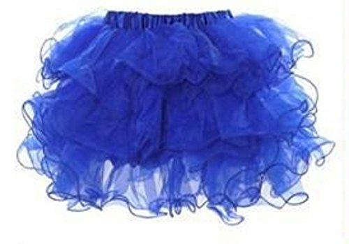 Damen Royal Blau Layered Rüschen Tutu Mini Rock Fancy Dress Hen Night Dance Ballett tragen Clubwear One Size UK 8–10EU (Erwachsene Tutus Für Blau)
