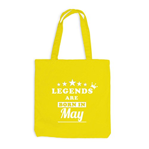 Jutebeutel - Legends are born in May - Birthday Gift Gelb