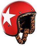 Bandit, casco star, di colore rosso, con imbottitura leopardata, per scooter, moto, leggero e comodo