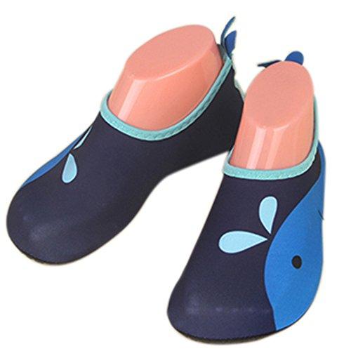 JACKSHIBO Unisex-Kinder Wasserschuhe Jungen Strandschuhe Aqua Schuhe Mädchen Schwimmschuhe Surfschuhe Badeschuhe Blau