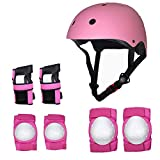 LUCKME Kit di Protezione, BMX Skating Scooter Rollerblade Cycling Skateboard Set di Protezioni (Casco + Gomiti + Protezione per Le Mani + Ginocchiera),Pink,M