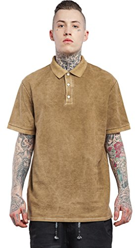 Pizoff Unisex Urban Basic Hip Hop Einfarbig kurzem Arm leichte Hemd Jacken IN006-Khaki
