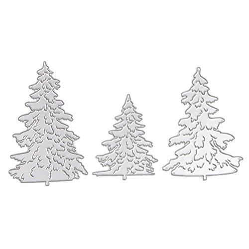 (Metall Stanzformen Set Metall Präge Schablonen für DIY Scrapbooking Fotoalbum dekorativ, Papier Kartenherstellung, 3pcs Weihnachtsbaum Vorlage, perfektes Geschenk, Handwerk)