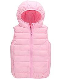 Niños Niñas Invierno Sin-mangas Chaquetas Infantil Chalecos Vest con Capucha