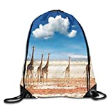 gthytjhv Borsa da trasporto Drawstring Bag Giraffes Sky Rucksack for Gym Hiking Travel Customized Color 01 Lightweight Unique 16.9x14.2