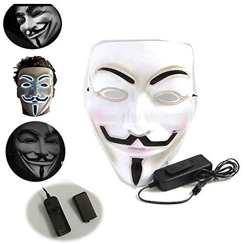 LONGSILAN V Vendetta LED Maske Anonymous Hacker-Gesichtsmaske für Kostüm, Party, Festival, Cosplay, Halloween (weiß) White light-3PCS (Weiße Kostüm Für Eine White Party)