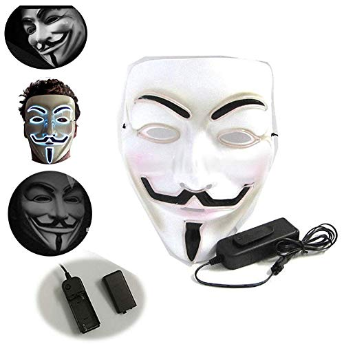 LONGSILAN V Vendetta LED Maske Anonymous Hacker-Gesichtsmaske für Kostüm, Party, Festival, Cosplay, Halloween (weiß) Blue light-2PCS