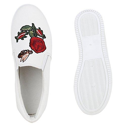 Damen Glitzer Slip-ons Plateau Metallic Slipper Mode Schuhe   Gr. 36-41   Aktuelle Kollektion Weiss Blumen
