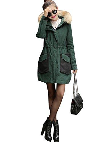 Youlee Damen Winter Schlanke Taille Reißverschluss Mantel mit Pelzmütze Dunkelgrün