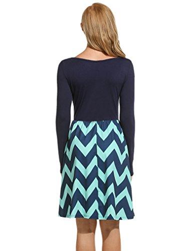 OURS Damen O-Ausschnitt Lange Ärmel Stretch Streifen Casual Basic Kleid Franki Skaterkleid MiniKleid Dunkel Blau