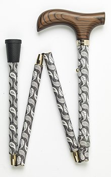 Verstellbarer Gehstock zusammenklappbar mit Easy Gelenke Derby Holz Griff und eine grün Paisley/Tropfenform Muster -