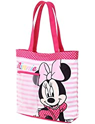 Sac de plage - Cabas enfant fille Disney Minnie Rayé blanc/rose 33cm