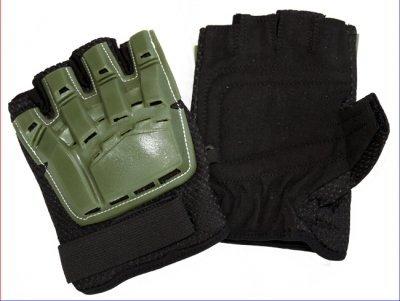 Paintball Handschuhe Protectoren - Halbfinger - oliv, Größe: M