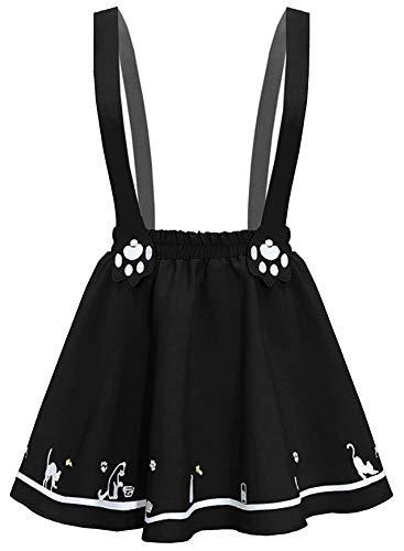 Doballa Damen Kawaii Rock Nette Katze Pfote Gestickte Lolita Minirock mit Einstellbare Hosenträger, Schwarz, X-Small / Small (Stellen Sie Katze Kostüm)