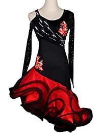 7e7fad0c5 Vestidos de Competición de Baile Latino de Manga Larga para Mujer  Rendimiento Rhinestone Malla Costura Zumba
