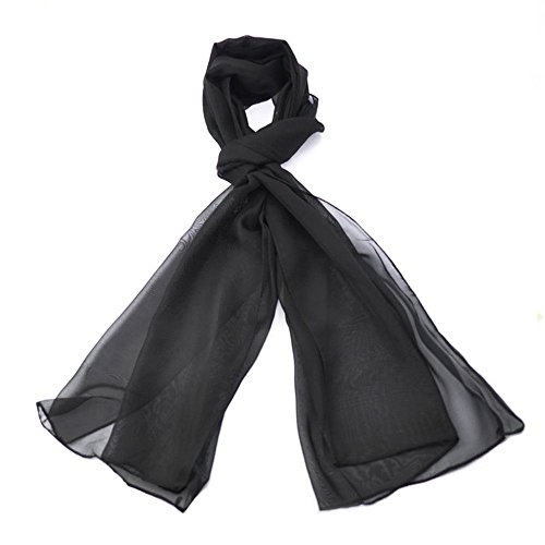 Classic Plain Chiffon Scarf Light Weight & SOFT See-Through Semi Opaque Fabric 47 x 160cm (18.5 x 62 inch)- Luxurious Touch To Any Outfit
