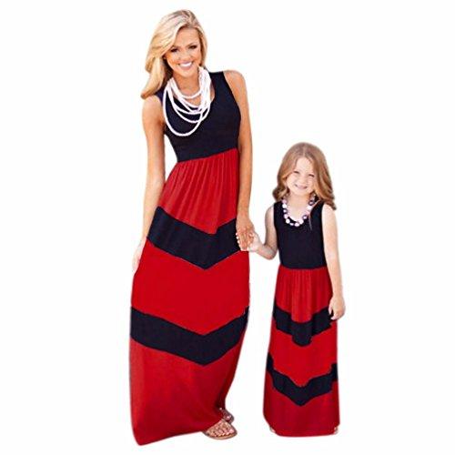 Xmansky Eltern-Kind gestreifte Tunika Kleid Mommy und ich Familie Kleidung Matching Maxi Kleid (Tochter Kostüme Cute Und Mutter)