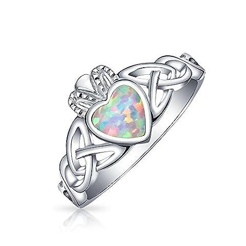 Bling Jewelry Claddagh en argent 925 Bague Cœur Opale Synthétique