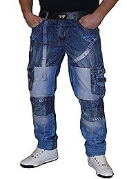 S&LU ausgefallene Herren Jeans mit vielen Patches in verschiedenen Größen