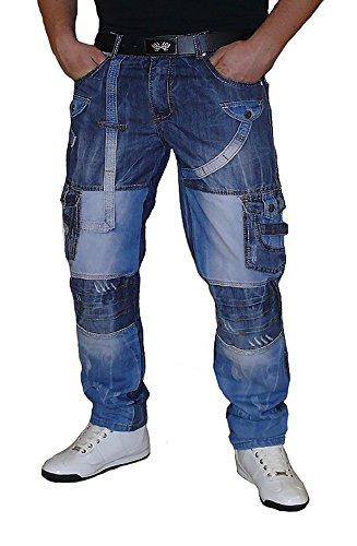 S&LU ausgefallene Herren Jeans mit vielen Patches Größe W30 - W36 Blue-Used W31
