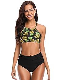 SHEKINI Damen Brazilian Bikini Set Bandeau Push Up Muster Bikini Oberteil  Mit High Waist Bikinihose Sport Bademode… 71402d5010