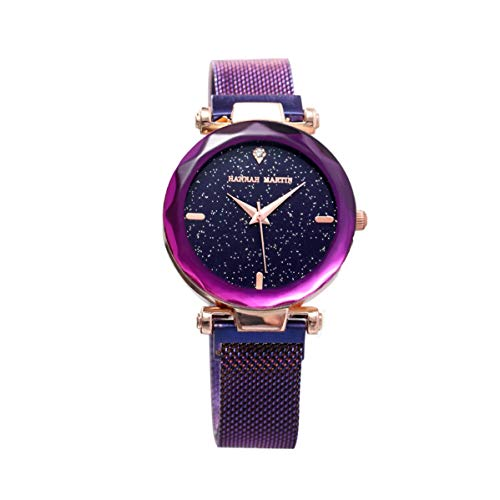 Damen Uhren, L\'ananas Frauen Mode Diamant schneiden Sternenhimmel Zifferblatt Mesh Riemen Armband Armbanduhr Bracelet Women Watches (Lila)