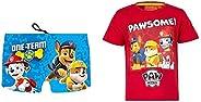 Patrulla Canina 3410. Pack bañador y Camiseta niño, Camiseta para niños y bañador Tipo Bóxer Paw Patrol, Playa